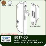 Adams Rite 5017-00 - Wood Door Deadlock/Deadlatch - Stainless Steel Deadlock