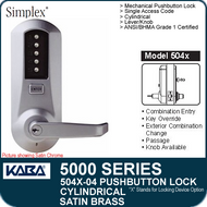 Simplex 5041-04- Mechanical Pushbutton Cylindrical Lock - Satin Brass