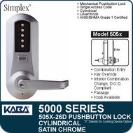 Simplex 5051-26D - Mechanical Pushbutton Cylindrical Lock - Satin Chrome