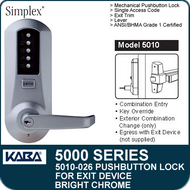 Simplex 5010-026 - Mechanical Pushbutton Exit Device Lock - Bright Chrome