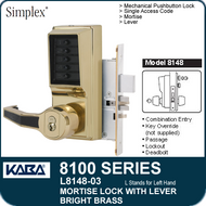Simplex L8148-03 - Mechanical Pushbutton Mortise Lock with Lever with Key Override, Passage, Lockout and Deadbolt - Bright Brass
