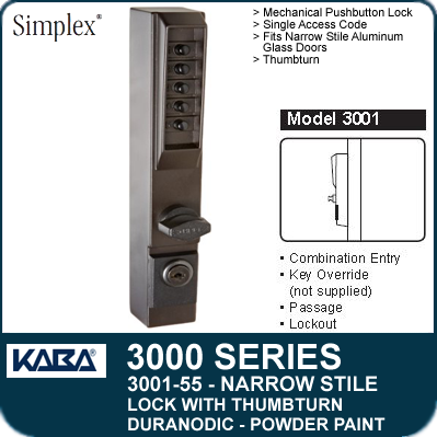 Simplex 3001-55 - Mechanical Pushbutton Narrow Stile Lock with Thumbturn for Aluminum Doors - Duranodic Powder Paint