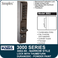 Simplex 3002-55 - Mechanical Pushbutton Narrow Stile Lock with Thumbturn for Aluminum Doors - Duranodic Powder Paint