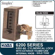 Simplex 6202-60 - Mechanical Pushbutton Cylindrical Lock with Exterior Thumbturn, Internal Knob - Gold Tone