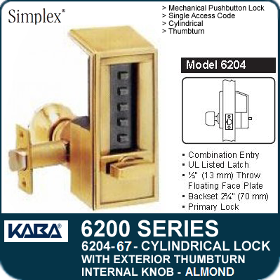 Simplex 6204-67 - Mechanical Pushbutton Cylindrical Lock with Exterior Thumbturn, Internal Knob - Almond