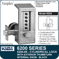 Simplex 6204-85 - Mechanical Pushbutton Cylindrical Lock with Exterior Thumbturn, Internal Knob - Black