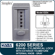 Simplex 6204-86 - Mechanical Pushbutton Cylindrical Lock with Exterior Thumbturn, Internal Knob - Gray