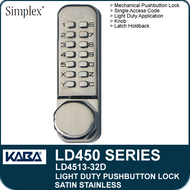 Simplex LD4513-32D - Light Duty Mechanical Pushbutton Lock Latch Holdback, Knob - Satin Stainless