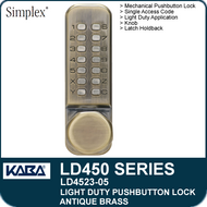 Simplex LD4523-05 - Light Duty Mechanical Pushbutton Lock Latch Holdback, Knob - Antique Brass