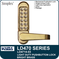 Simplex LD4714-03 - Light Duty Mechanical Pushbutton Lock with Vandal Resistant Clutching Lever - Bright Brass