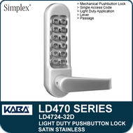 Satin Stainless - Simplex LD4724-32D - Light Duty Mechanical Pushbutton Lock with Vandal Resistant Clutching Lever