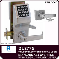 Alarm Lock Trilogy DL2775 - Standard Key Override with Regal Curved Lever