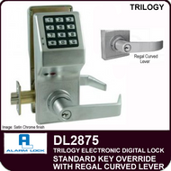 Alarm Lock Trilogy DL2875 - Standard Key Override with Regal Curved Lever
