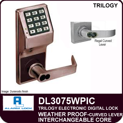 Alarm Lock Trilogy DL3075WPIC - Weatherprrof Interchangeable Core with Regal Curved Lever