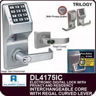 Alarm Lock Trilogy DL4175IC - ELECTRONIC DIGITAL LOCKS, WITH PRIVACY & RESIDENCY FEATURES - Interchangeable Core prepped for Best with Regal Curved Lever
