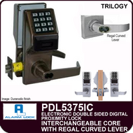 Alarm Lock Trilogy PDL5375IC - ELECTRONIC DOUBLE SIDED DIGITAL PROXIMITY LOCKS - Interchangeable Core with Regal Curved Lever