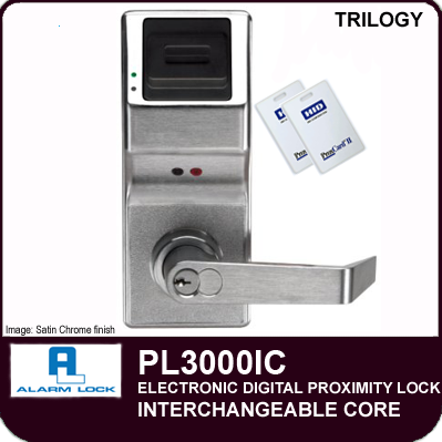 Alarm Lock Trilogy PL3000IC - ELECTRONIC DIGITAL PROXIMITY LOCKS - Interchangeable Core
