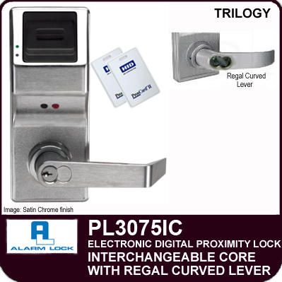 Alarm Lock Trilogy PL3075IC - ELECTRONIC DIGITAL PROXIMITY LOCKS - Interchangeable Core with Regal Curved Lever