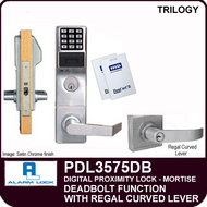 Alarm Lock Trilogy PDL3575DB - ELECTRONIC PROXIMITY MORTISE LOCKS - Regal Curved Lever Deadbolt Function