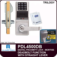 Alarm Lock Trilogy PDL4500DB - ELECTRONIC DIGITAL PROXIMITY MORTISE LOCKS, WITH PRIVACY & RESIDENCY FEATURES - Straight Lever Deadbolt Function
