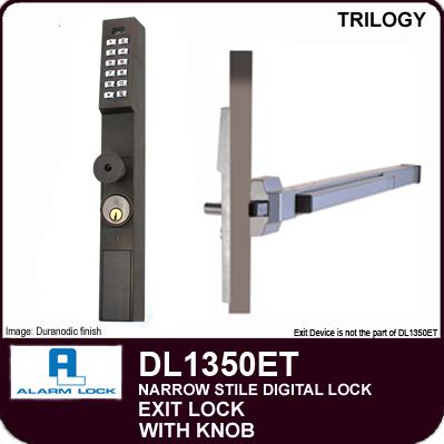 Alarm Lock Trilogy DL1350ET - NARROW STYLE / EXIT LOCK - With Knob