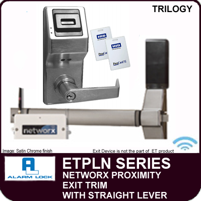 Alarm Lock Trilogy ETPLN Series - NETWORX PROXIMITY EXIT TRIM - Straight Lever