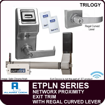 Alarm Lock Trilogy ETPLN Series - NETWORX PROXIMITY EXIT TRIM - Regal Curved Lever