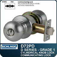 Schlage D72PD- Heavy Duty Commercial Classroom Security Knob Lock - Double Cylinder
