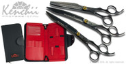 Kenchii Bumble Bee set. 8-inch straight, 8-inch curved, 7-inch 44-tooth, and 5-shear case.