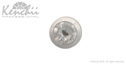 Clear single stone jewel screw.