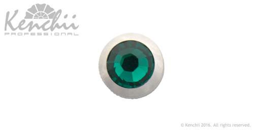 Green single stone jewel screw.