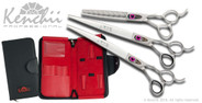 Love™ 9-inch dog grooming set. Includes straight and curved shears, and your choice of 46-tooth or 22-tooth thinners. (Shown with 46-tooth thinner)