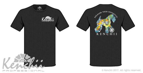 Kenchii tee shirt with Shinobi dog illustration by Amber Brooks.