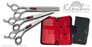 Love™ 7-inch left-handed dog grooming set. Includes straight and curved shears, and your choice of 46-tooth or 22-tooth thinners. (Shown with 46-tooth thinner)