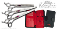 Love™ 8-inch left-handed dog grooming set. Includes straight and curved shears, and the 46-tooth thinner.