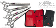 Love™ 8-inch left-handed dog grooming set. Includes straight and curved shears, 22-tooth blender, and 46-tooth thinner.