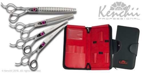 Love™ 7-inch left-handed dog grooming set. Includes straight and curved shears, and both 46-tooth and 22-tooth thinners.