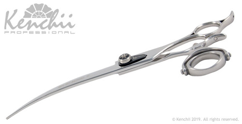 Shinobi™ 8-inch curved double swivel grooming shear, profile.