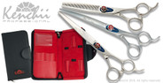 "Kenchii Five Star 7.0"" offset grooming shear set."