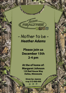 Realtree Baby Shower Invite w/ custom printed verse of your choose Qty 24 invites w/envelopes Size 5x7 cardstock