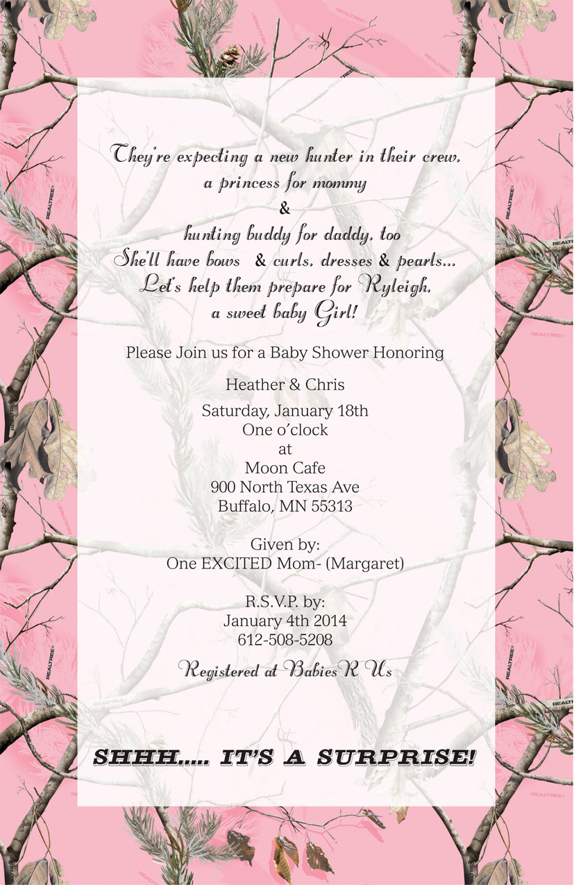 Pink Camo Invitation