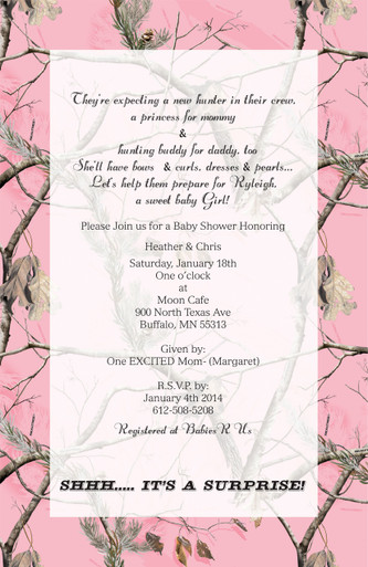 Totally Pink Realtree Camo Invitation