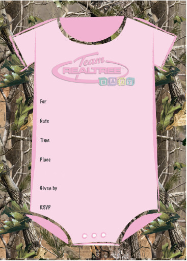 Team Realtree Baby Shower Invitations