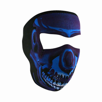Neoprene All-Season Full Face Mask - Blue Chrome Skull