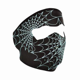 Neoprene All-Season Full Face Mask - Glow Spider Web