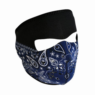 Neoprene All-Season Full Face Mask - Blue Paisley