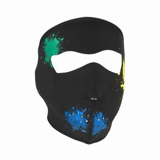 Neoprene All-Season Full Face Mask - Glow Splatter Paint