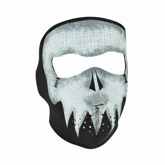 Neoprene All-Season Full Face Mask - Glow Gray Skull