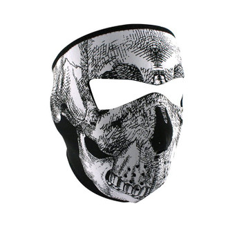 Neoprene All-Season Full Face Mask - Black & White Skull