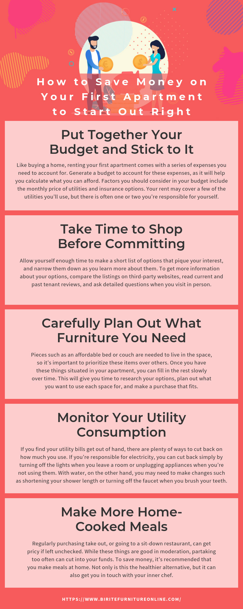 How to Save Money on Your First Apartment to Start Out Right infographic
